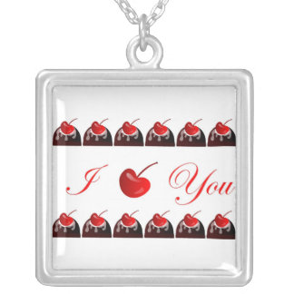 One Dozen Chocolate Covered Cherry I Love you's Square Pendant Necklace