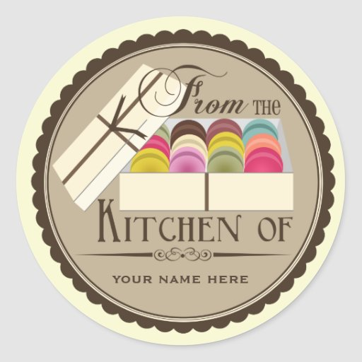 "One Dozen French Macarons ""From The Kitchen Of"" Round Sticker"