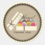 One Dozen French Macarons Merci Thank You Round Sticker