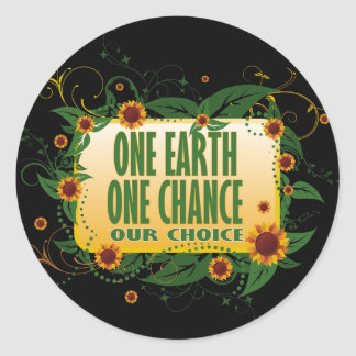 One Earth One Chance Classic Round Sticker