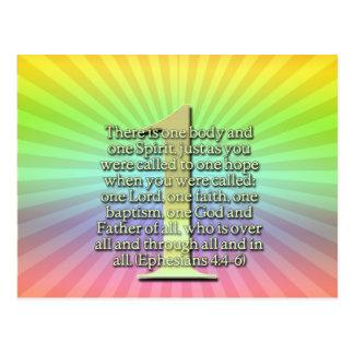 ONE  Ephesians 4:4-6 BIBLE SCRIPTURE Postcard