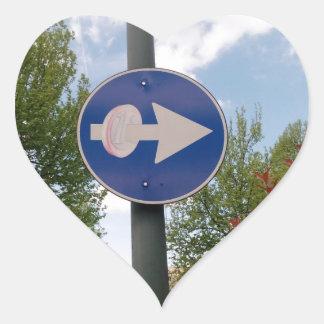 One euro one way heart sticker