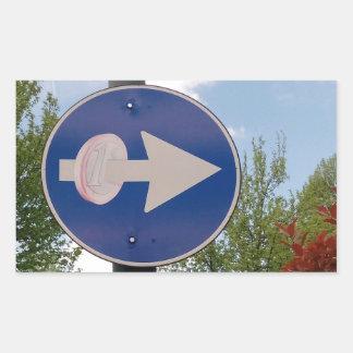 One euro one way rectangular sticker