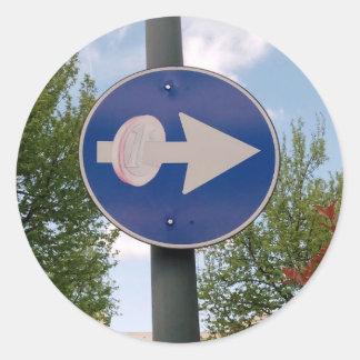 One euro one way round sticker