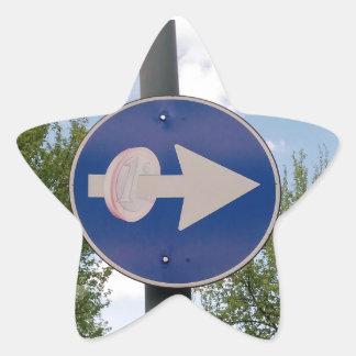One euro one way star sticker