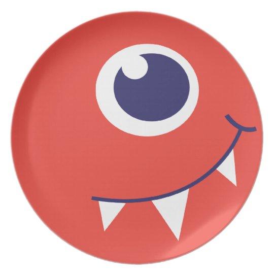 One eyed alien monster orange kids plate
