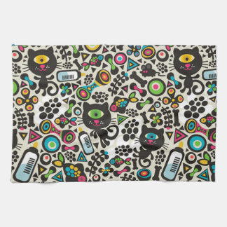 One Eyed Black Cat Tea Towel