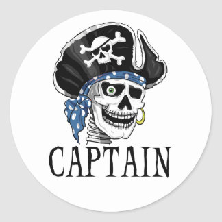 One-eyed Pirate Captain Classic Round Sticker