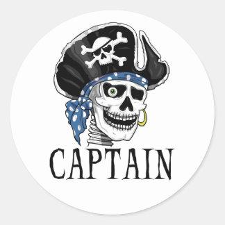One-eyed Pirate Captain Round Sticker