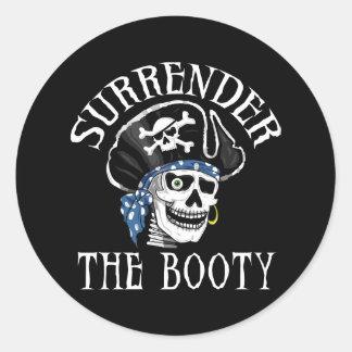 One-eyed Pirate Skull and Crossbones Round Sticker
