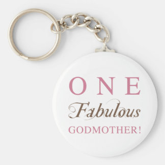 One Fabulous Godmother Gifts Basic Round Button Key Ring