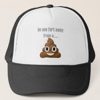 One fart away from poop-emoji - Poo cartoon design Trucker Hat