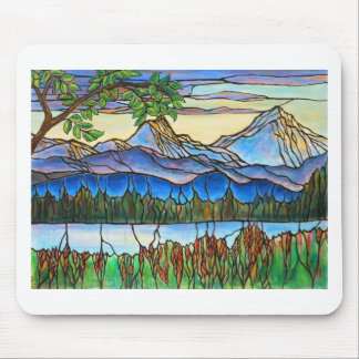 """One Fine Day"" Stained Glass Landscape Art! Mouse Pad"