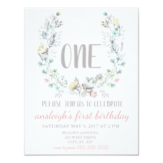 """ONE"" First Birthday Floral Invitation"