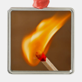 One flame of fire Silver-Colored square decoration