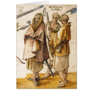 One Gallòglach and Two Kerns - Albrecht Dürer Greeting Card