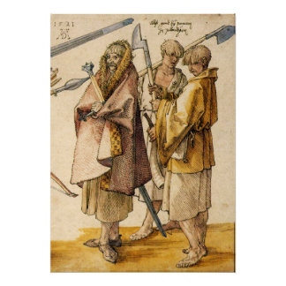 One Gallòglach and Two Kerns - Albrecht Dürer Print