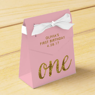 One Glitter  1st Birthday Pink and Gold Favour Box