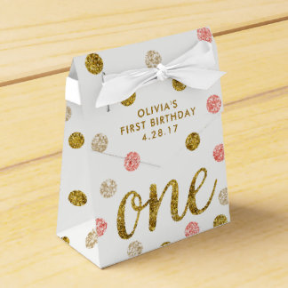 One Glitter Confetti 1st Birthday Pink and Gold Favour Box