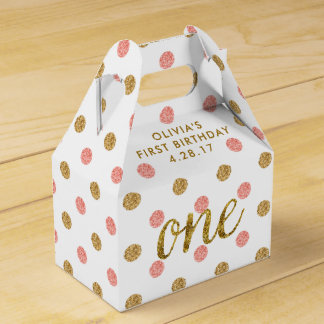 One Glitter Confetti 1st Birthday Pink and Gold Party Favour Box