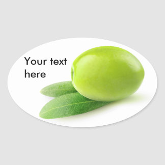 One green olive oval sticker