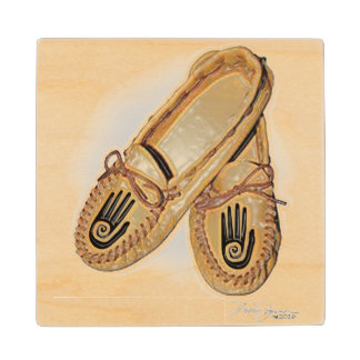 One Hand Moccasin Wood Coaster