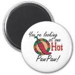 One Hot PawPaw 6 Cm Round Magnet