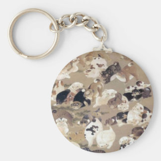 One Hundred Dogs by Ito Jakuchu Basic Round Button Key Ring