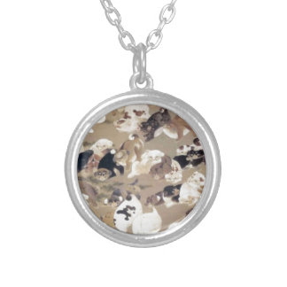 One Hundred Dogs by Ito Jakuchu Round Pendant Necklace