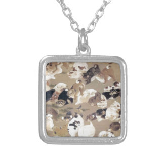 One Hundred Dogs by Ito Jakuchu Square Pendant Necklace