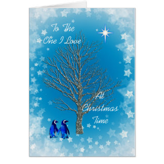 One I love with christmas penguins Card