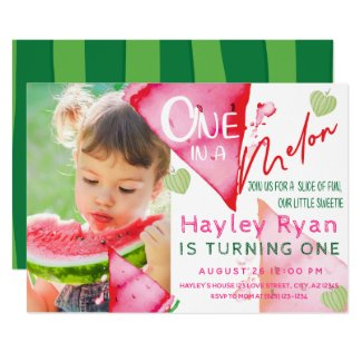One In a Melon 1st Birthday Photo Invitation