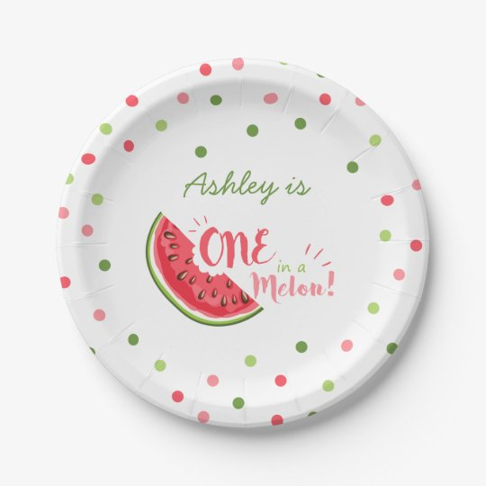 One in a melon First birthday Paper Plates