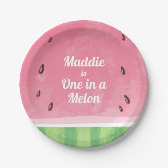 One in a melon First birthday Paper Plates summer