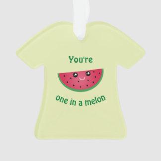 One In A Melon Funny Cute Kawaii Watermelon Ornament