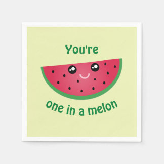 One In A Melon Funny Cute Kawaii Watermelon Paper Napkin