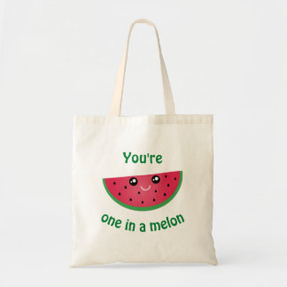 One In A Melon Funny Cute Kawaii Watermelon Tote Bag