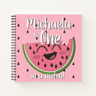 One in a Melon Watermelon First Birthday Guest Notebook