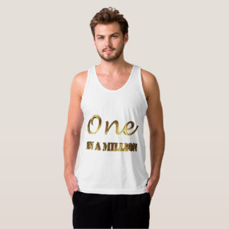 One in a million Elegant Gold Brown Typography Tank Top
