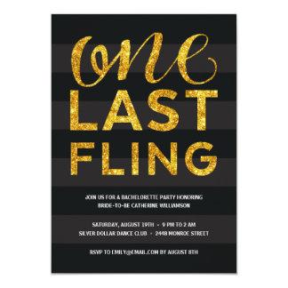 One Last Fling | Glitter-Look Bachelorette Party 13 Cm X 18 Cm Invitation Card