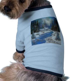 One Little Blue Winter Scene Dog Tee