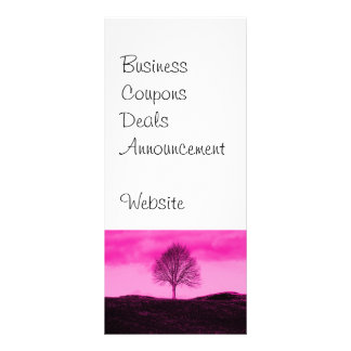 One Lone Tree Silhouette Hot Pink Landscape Full Color Rack Card