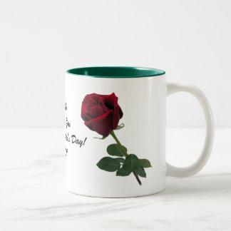 One Long Stem Deep Red Rose Mug