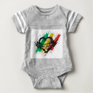 one love rasta reggae graffiti flag baby bodysuit