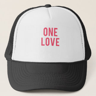 One Love Red Print Trucker Hat