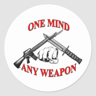 One Mind Any Weapon MCMAP Round Stickers