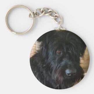 One Mischievous Dog Basic Round Button Key Ring