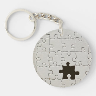 One Missing Puzzle Piece Double-Sided Round Acrylic Key Ring