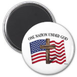 One Nation Under God with rugged cross and US flag 6 Cm Round Magnet