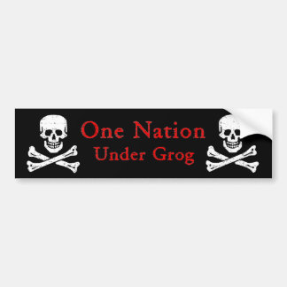 One Nation Under Grog Bumpersticker (red ltr) Bumper Sticker